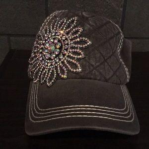 Olive&Pique flower rhinestone baseball cap